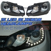 GOLF MK6 DRL BI XENON HEADLAMPS GTD R20 GTI DAYTIME RUNNING LIGHTS HEA..